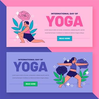 Organischer flacher internationaler tag der yoga-banner gesetzt