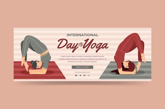 Organischer flacher internationaler tag der yoga-bannerschablone