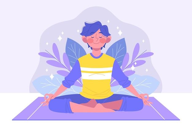 Organischer flacher mann, der meditiert