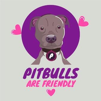Organischer flacher pitbull dargestellt