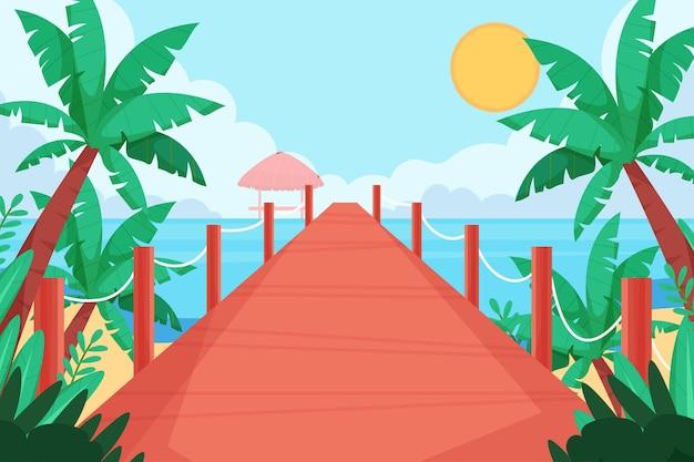 Organischer flacher sommerhintergrund für videoanrufe