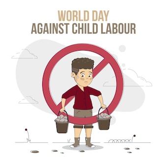 Organischer flacher welttag gegen kinderarbeitsillustration