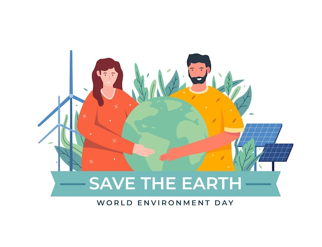 Organischer flacher weltumwelttag retten die planetenillustration