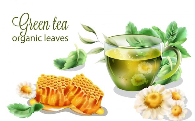 Organischer grüner tee mit tadellosen blättern und dekorationen