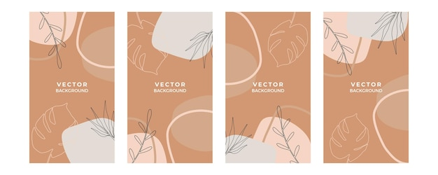 Organischer hintergrund mit floralen und geometrischen elementen der erdfarbenen laublinie. für social-media-beiträge, mobile apps, banner-design und web- oder internet-anzeigen. mode-boho-hintergrund