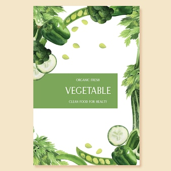 Organischer menüideenbauernhof des grünen gemüseaquarells plakat, gesundes organisches design