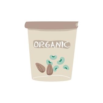 Organischer sojabohnen- und mandeljoghurtvektor