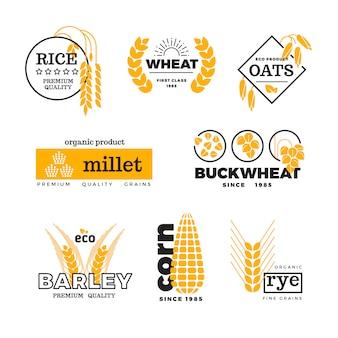 Organischer weizenkorn, der landwirtschaftsvektor-logosatz bewirtschaftet