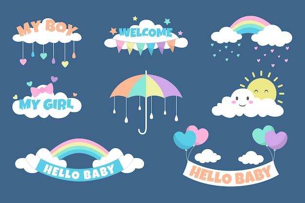 Organisches flaches chuva de amor dekorationselementset
