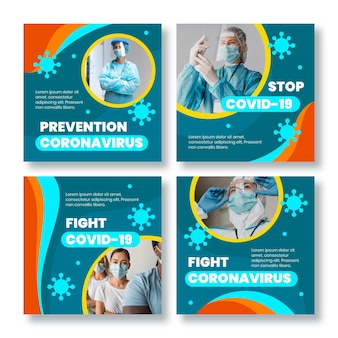 Organisches flaches coronavirus-instagram-postpaket