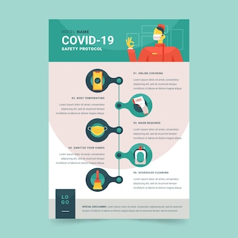 Organisches flaches coronavirus-präventionsplakat für hotels