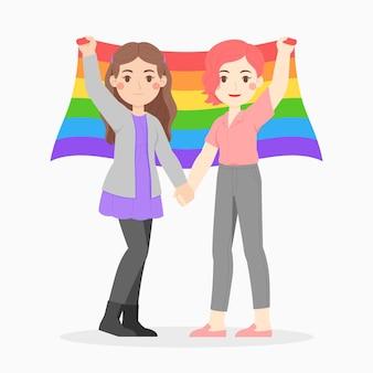 Organisches flaches lesbisches paar mit lgbt flagge