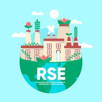 Organisches flaches rse-konzept dargestellt