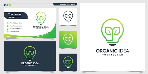 Organisches logo mit kreativem blattlinienkunststil und visitenkartenentwurfsschablone, verlassen, natur, modern