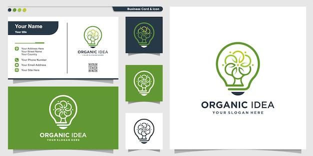 Organisches logo mit modernem kreativem baumstil und visitenkartenentwurfsschablone, baum, natur, modern