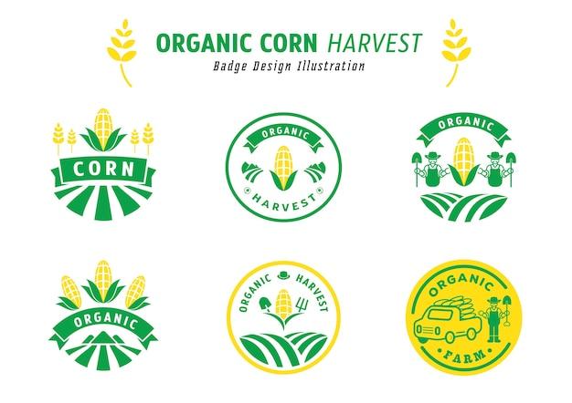 Organisches maisernte-abzeichen design