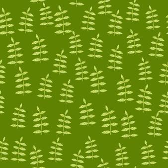 Organisches nahtloses mit blumenmuster auf grünem hintergrund.