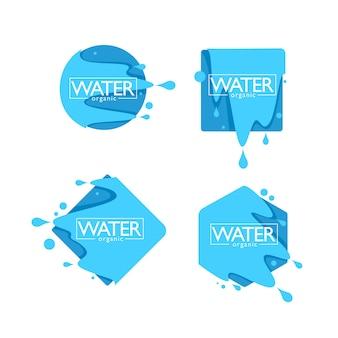 Organisches natürliches quellwasser, vektorlogo, etiketten und aufklebervorlagen mit aquatropfen