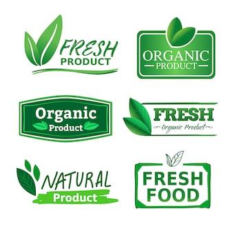 Organisches natürliches und frisches geschäftslogo-aufkleberprodukt mit grünem natürlichem farbthema.