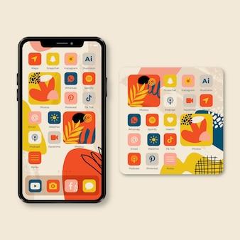 Organisches startbildschirmthema für smartphone
