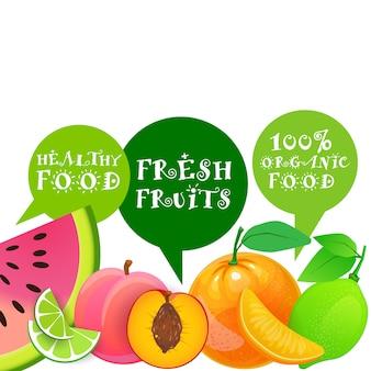 Organisches und gesundes lebensmittel-natürliches landwirtschaftliches produkt-konzept der frischen früchte