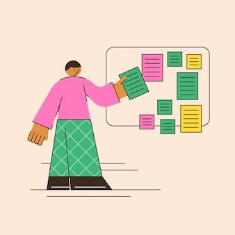 Organisieren von projekten notiztafel aufgabentafel zeitplan sticker board abstrakte darstellung der organisation des managements in einem minimalistischen flachen stil