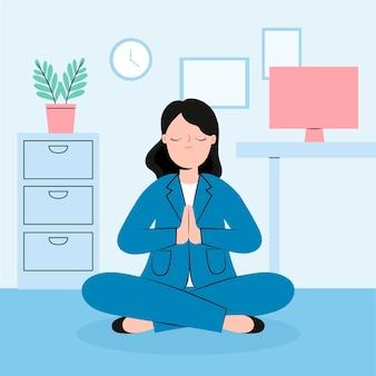 Organisierende geschäftsfrau der flachen flachen illustration, die meditiert