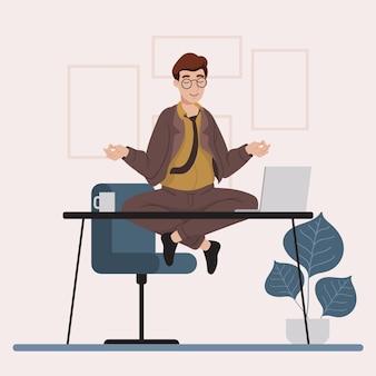 Organisierender flacher illustrationsgeschäftsmann, der meditiert