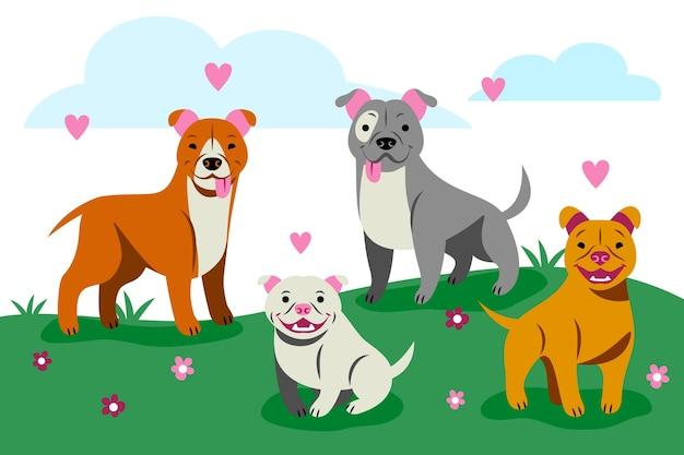 Organisierte flache pitbull illustrierte sammlung