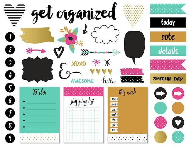 Organisiertes set mit aufklebern.