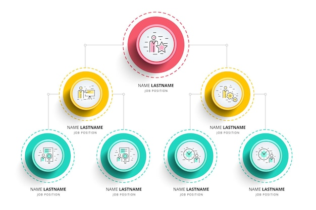 Organografiediagramm-infografiken der geschäftshierarchie. organisationsstruktur des unternehmens. vorlage für unternehmensorganisationszweige