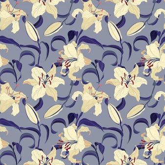 Oriental lilies blumen hellviolett nahtloses muster