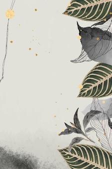 Orientalische blätter und gold detaillierter rahmen auf beigem vektor