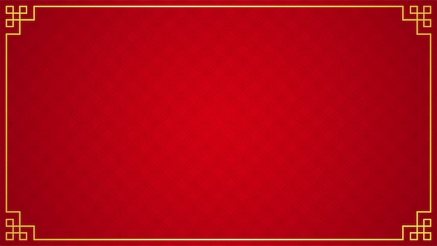 Orientalische chinesische grenzverzierung auf rot