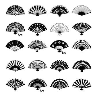 Orientalische fans silhouetten