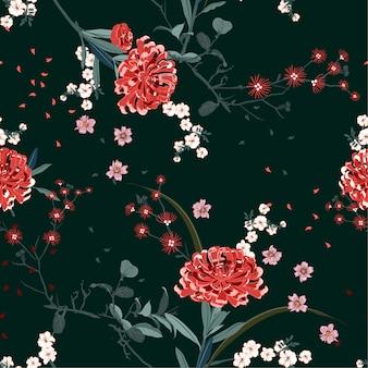 Orientalische gartenblume mit blühenden botanischen und kirschblütenblumen