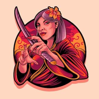 Orientalische geisha mit samurai-maskottchenillustration