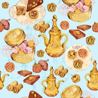 Orientalische süßigkeiten nahtlos