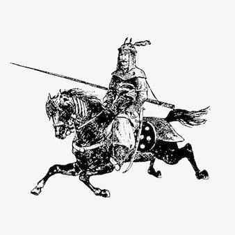 Orientalischer armeegeneral auf einem pferd