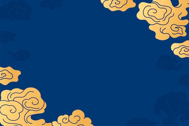 Orientalischer desktop-hintergrund, chinesischer wolkenblau-illustrationsvektor