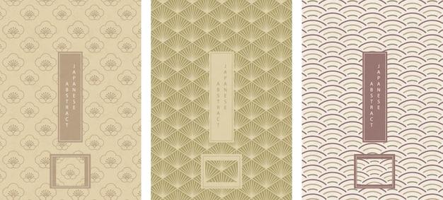 Orientalischer japanischer stil abstrakter nahtloser musterhintergrundentwurfsgeometrie-skalenkurvenlinien-polygonkreuzrahmen und pflaumenblüte