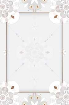 Orientalischer mandala-rahmen mit blumen