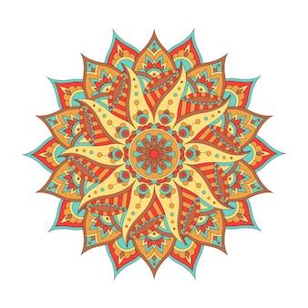 Orientalisches farbiges mandala lokalisiert auf weißem hintergrund. vintage dekoratives element. illustration