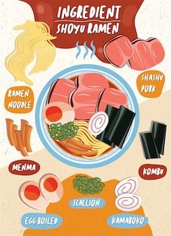 Orientalisches japan essen vektor frühlingszwiebel ramen frisches ei gekocht kamaboko schweinefleisch nudeln zutat heiße leckere tasse gericht mittagessen kochschüssel