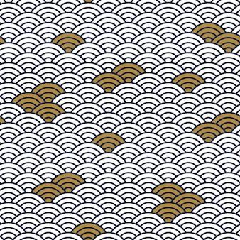 Orientalisches muster. nahtloser hintergrund der traditionellen asiatischen wellenverzierung, japanischer abstrakter vektorhintergrund