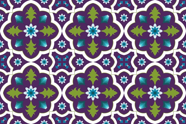 Orientalisches nahtloses traditionelles muster der bunten purpurroten marokkanischen ethnischen geometrischen blumenfliesenkunst. design für hintergrund, teppich, tapetenhintergrund, kleidung, verpackung, batik, stoff. vektor.