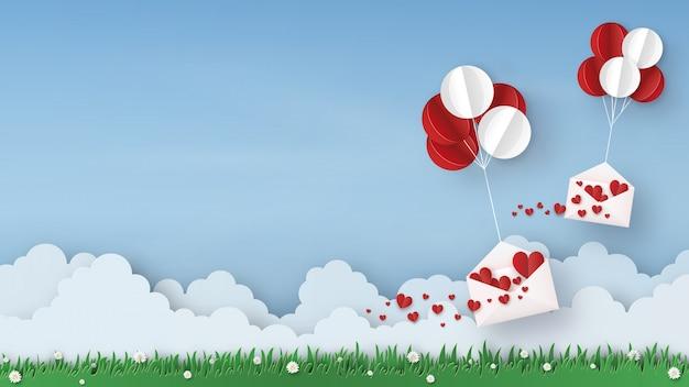 Origami aus luftballons mit geöffnetem umschlag und vielen filzherzen, kopierraum für text, papierkunstdesign und bastelstil. valentinstag konzept. vektorillustration.