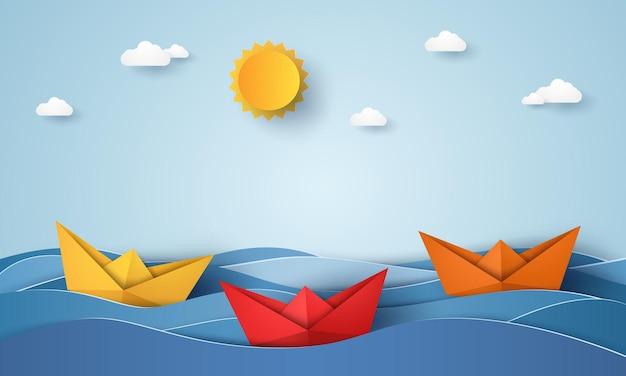Origami-boot segelt im blauen ozean, papierkunststil