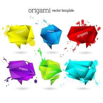 Origami bunten sprechblasen sammlung