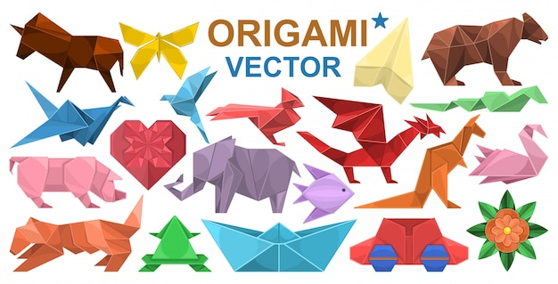 Origami-cartoon-set-symbol. illustrationspapiertier auf weißem hintergrund. isolierte karikatursatzikone origami.